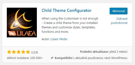 child theme configurátor